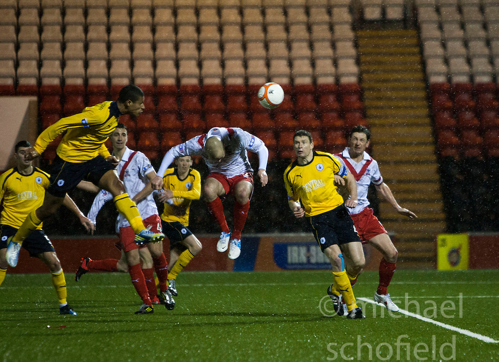 Falkirk's Lyle Taylor scoring their third goal from a header..Airdrie United 1 v 4 Falkirk, 22/12/2012..©Michael Schofield.