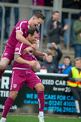Arbroath's Gavin Swankie cele scoring their second goal. Arbroath 3 v 1 Dumbarton, Scottish Football League Division One played 20/10/2018 at Arbroath's home ground, Gayfield Park.