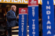 Dana White, president of the Ultimate Fighting Championship addresses delegates during the roll call on the second day of the Republican National Convention July 19, 2016 in Cleveland, Ohio. The delegates formally nominated Donald J. Trump for president after a state by state roll call.