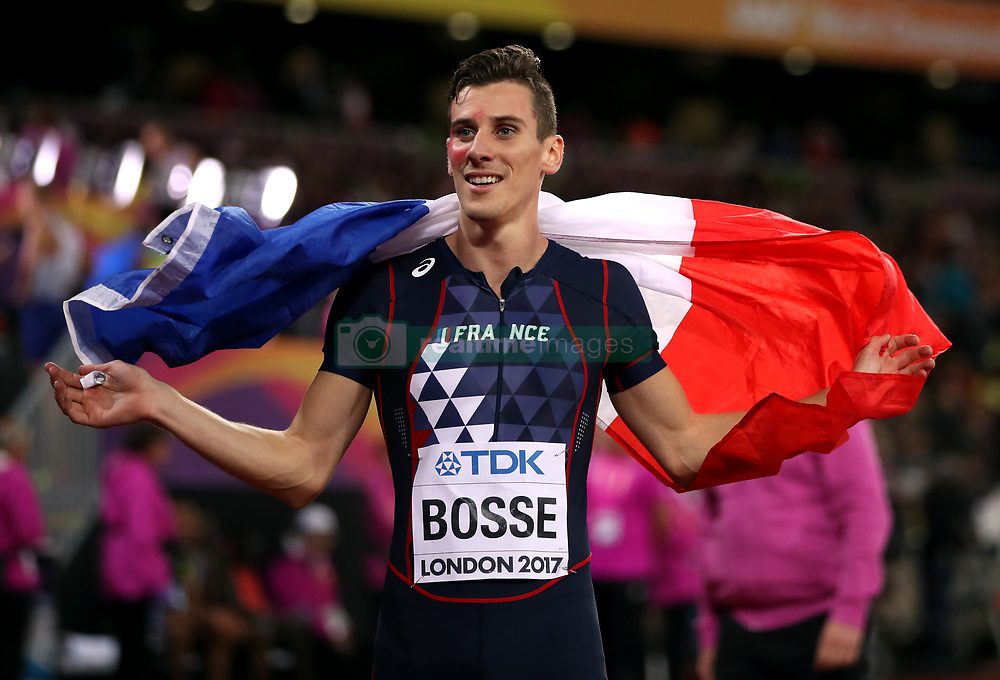 France's Pierre-Ambroise Bosse celebrates winning the Men's 800m Final during day five of the 2017 IAAF World Championships at the London Stadium.