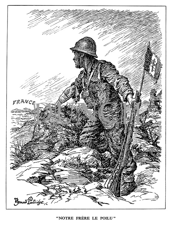 """""""Notre Frere le Poilu"""". (a Free French soldier, holding flag in his rifle, waits to invade occupied France)"""