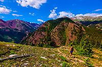 Hiking trail atop the Elk Camp chairlift, Snowmass Village (Aspen), Colorado USA.