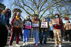 © Licensed to London News Pictures. 02/04/2021. London, UK. Protesters hold placards at a 'Kill the Bill' demonstration in Finsbury Park, north London. The proposed Police, Crime, Sentencing and Courts Bill would give police in England and Wales more power to impose conditions on non-violent protests. Photo credit: Dinendra Haria/LNP
