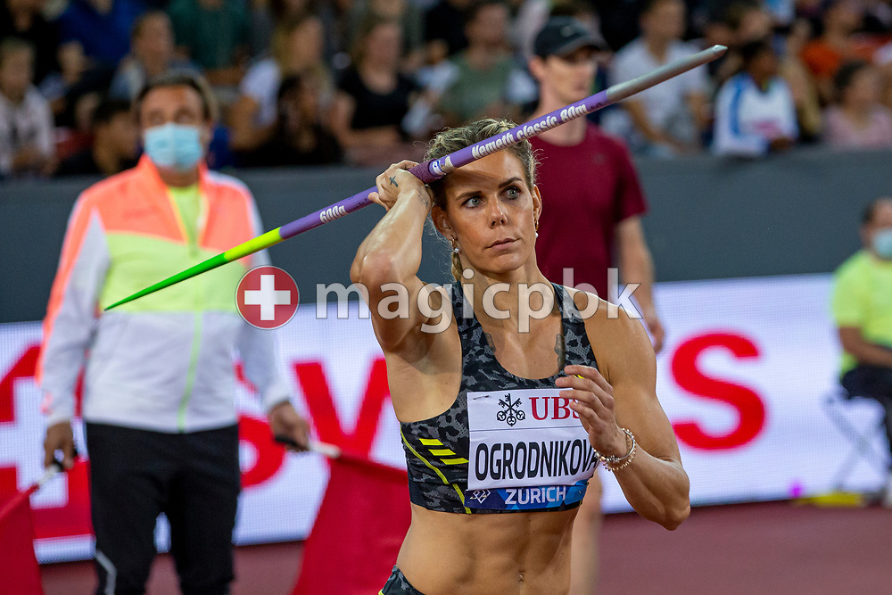 Nikola Ogrodnikova of the Czech Republic competes in the women's Javelin Throw during the Iaaf Diamond League meeting (Weltklasse Zuerich) at the Letzigrund Stadium in Zurich, Switzerland, Thursday, Sept. 9, 2021. (Photo by Patrick B. Kraemer / MAGICPBK)