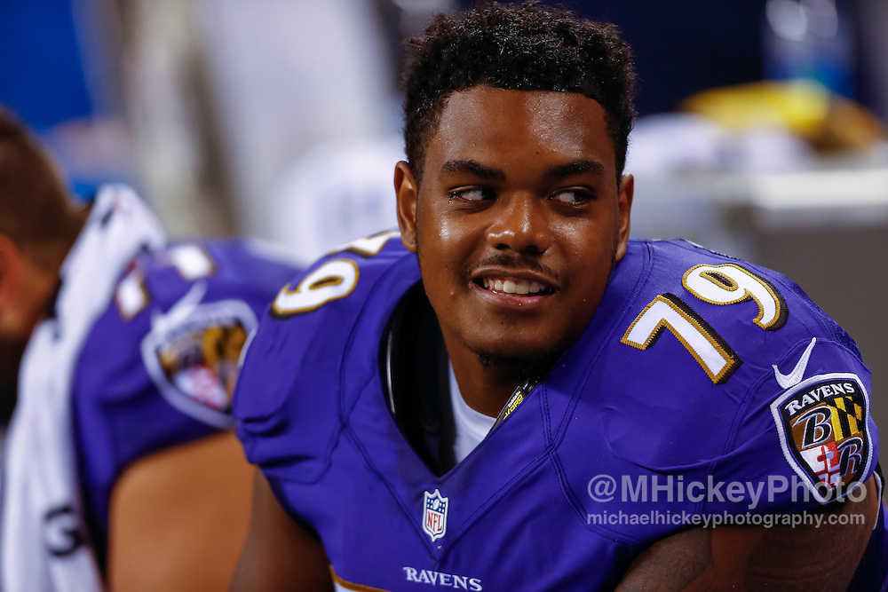 INDIANAPOLIS, IN - AUGUST 20: Ronnie Stanley #79 of the Baltimore Ravens is seen during the game against the Indianapolis Colts at Lucas Oil Stadium on August 20, 2016 in Indianapolis, Indiana.  (Photo by Michael Hickey/Getty Images) *** Local Caption *** Ronnie Stanley