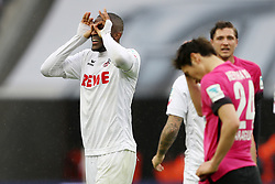 COLOGNE, March 19, 2017  Anthony Modeste (L) of 1. FC Koeln celebrates after scoring during the Bundesliga match between 1. FC Koeln and Hertha BSC in Cologne, Germany, on March 18, 2017. The team of 1. FC Koeln won 4-2. (Credit Image: © Ulrich Hufnagel/Xinhua via ZUMA Wire)