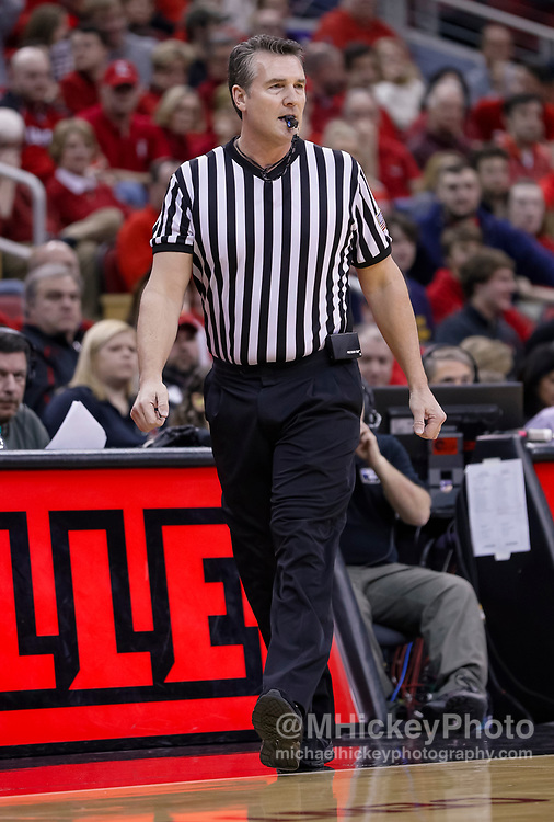 LOUISVILLE, KY - MARCH 03: NCAA referee Doug Shows is seen during the Louisville Cardinals and Notre Dame Fighting Irish game at KFC YUM! Center on March 3, 2019 in Louisville, Kentucky. (Photo by Michael Hickey/Getty Images) *** Local Caption *** Doug Shows