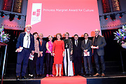 Prinses Margriet en Prinses Laurentien bij uitreiking ECF Princess Margriet Award for Culture 2017 in Paradiso, Amsterdam. ECF zet zich in voor cultuur in Europa. <br /> <br /> Princess Margriet and Princess Laurentien at the ECF Princess Margriet Award for Culture 2017 in Paradiso, Amsterdam. ECF is committed to culture in Europe.<br /> <br /> Op de foto / On the photo: <br /> <br />  Prinses Margriet en Prinses Laurentien met vier laureaten met de ECF Princess Margriet Award for Culture 2017:  musicus Luc Mishalle (Brussel), beeldend kunstenaar Marina Naprushkina (Berlijn), schrijfster en journaliste Aslı Erdoğan (Istanbul) en schrijver en wetenschapper Navid Kermani (Keulen).<br /> <br /> Princess Margriet and Princess Laurentien with four laureates with the ECF Princess Margriet Award for Culture 2017: musician Luc Mishalle (Brussels), visual artist Marina Naprushkina (Berlin), writer and journalist Aslı Erdoğan (Istanbul) and writer and scientist Navid Kermani (Cologne) .
