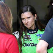 Danica Patrick, driver of the #7 GoDaddy Chevrolet is seen in the garage area during practice for the 60th Annual NASCAR Daytona 500 auto race at Daytona International Speedway on Friday, February 16, 2018 in Daytona Beach, Florida.  (Alex Menendez via AP)