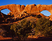 South and North Windows, arches eroded in Entrada Sandstone, The Windows Section, Arches National Park, Utah.