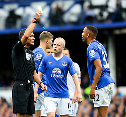 Everton's Brendan Galloway receives a yellow card  - Mandatory byline: Matt McNulty/JMP - 07966386802 - 12/09/2015 - FOOTBALL - Goodison Park -Everton,England - Everton v Chelsea - Barclays Premier League