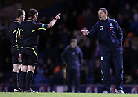 Football - Scottish Premier League - Rangers vs Hibernian<br /> <br /> Hibs manager Colin Calderwood has a disscusion with referee Stevie O'Rielly during the Rangers vs Hibernian Clydesdale Bank Premier league match at Ibrox Stadium.