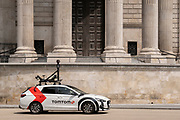 A car equipped with camera and mapping technology for the SatNav brand TomTom drives beneath the pillars and column architecture of Sir Christopher Wren's St Paul's Cathedral south transept, on 24th June 2021, in London, England. (Photo by Richard Baker / In Pictures via Getty Images) CREDIT RICHARD BAKER.