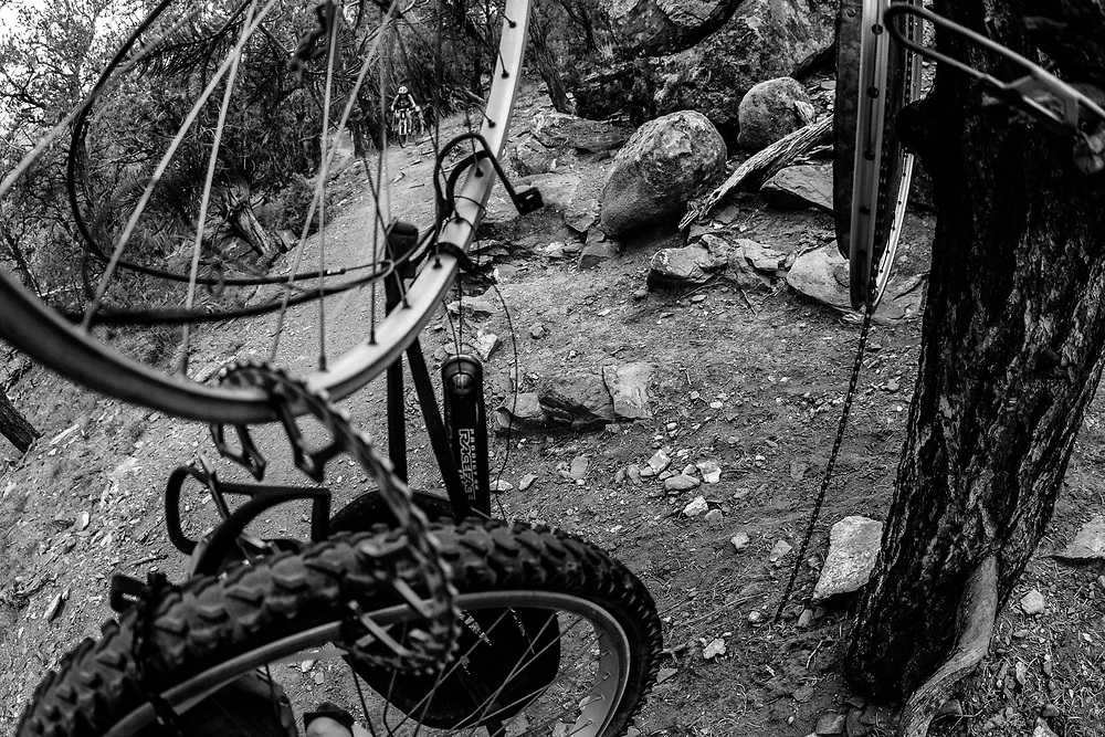 Heather Goodrich rides the sandstone terrain near the bike lounge of Red Hill in Carbondale, Colorado.