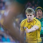 James O' Connor, Australia, lines up a kick during the South Africa V Australia Quarter Final match at the IRB Rugby World Cup tournament. Wellington Regional Stadium, Wellington, New Zealand, 9th October 2011. Photo Tim Clayton...