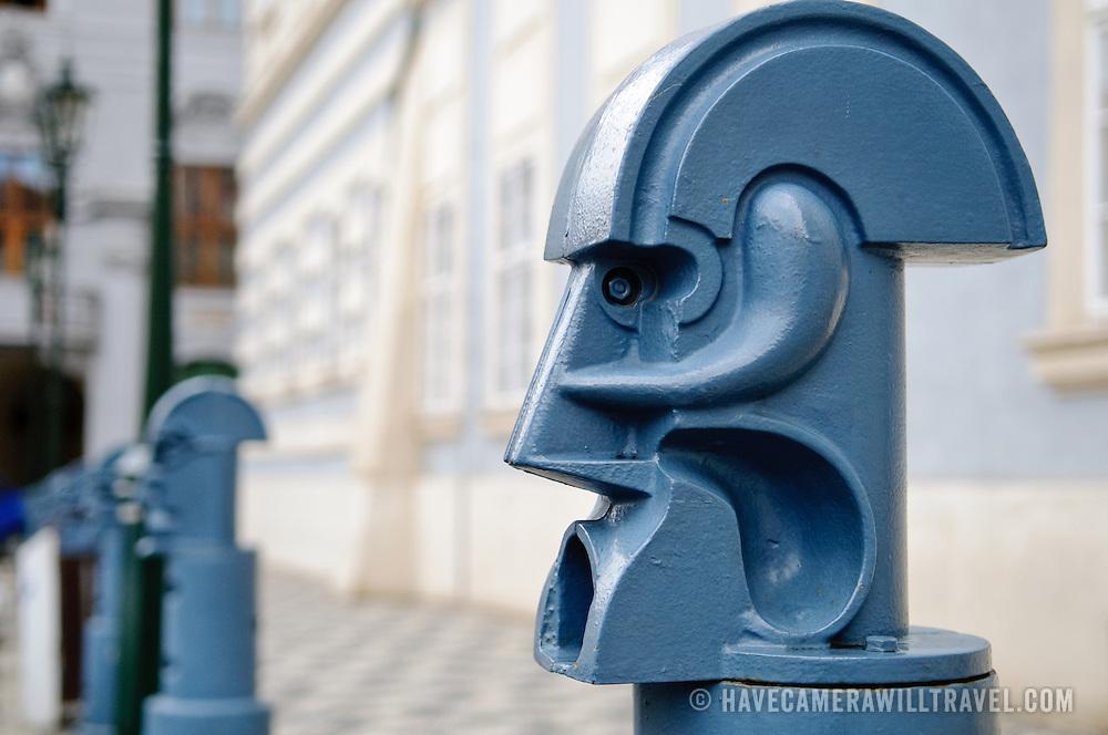 Artistic traffic bollards in Prague