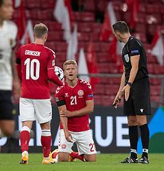 Andreas Cornelius (Danmark) under UEFA Nations League kampen mellem Danmark og Belgien den 5. september 2020 i Parken, København (Foto: Claus Birch).