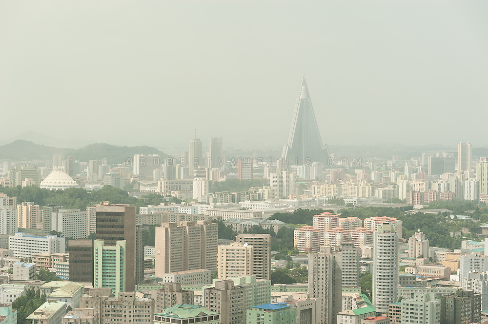 Aerial view of Pyongyang, North Korea, showing the prominent Ryugyong Hotel