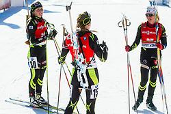 BRAISAZ Justine (FRA), LATUILLIERE Enora (FRA) and Sophie Boilley of France after the Women 12,5 km Mass Start at day 4 of IBU Biathlon World Cup 2014/2015 Pokljuka, on December 21, 2014 in Rudno polje, Pokljuka, Slovenia. Photo by Vid Ponikvar / Sportida
