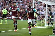 Michail Antonio of West Ham United celebrates after scoring his sides 1st goal from a header to make it 1-0 . Premier league match, West Ham Utd v AFC Bournemouth at the London Stadium, Queen Elizabeth Olympic Park in London on Sunday 21st August 2016.<br /> pic by John Patrick Fletcher, Andrew Orchard sports photography.