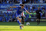 Cardiff City's Peter Whittingham shoots and scores Cardiff's second goal. EFL Skybet championship match, Cardiff city v Brentford at the Cardiff City Stadium in Cardiff, South Wales on Saturday 8th April 2017.<br /> pic by Carl Robertson, Andrew Orchard sports photography.