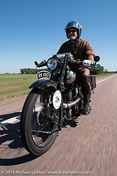 The Vintangent's Paul D'Orleans riding one of Bryan Bossier's 1925 Brough Superior SS100's during the Motorcycle Cannonball coast to coast vintage run. Stage 8 (314 miles) from Spirit Lake, IA to Pierre, SD. Saturday September 15, 2018. Photography ©2018 Michael Lichter.