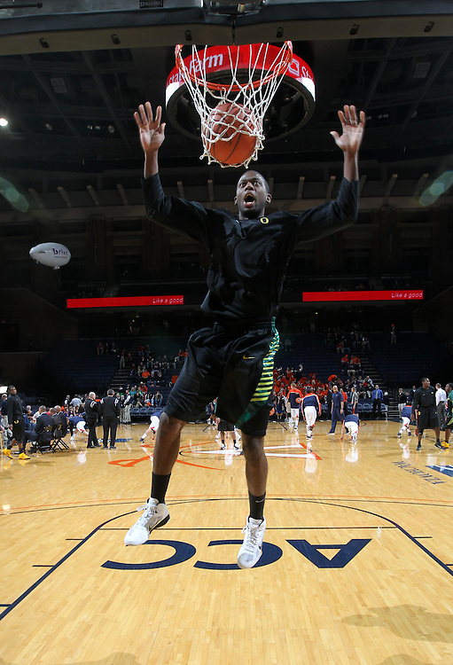 Dec. 17, 2010; Charlottesville, VA, USA; Oregon Ducks forward Tyrone Nared (31) dunks the ball during warm ups before the start of the game against the Virginia Cavaliers at the John Paul Jones Arena. Mandatory Credit: Andrew Shurtleff