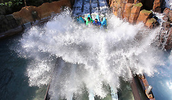 October 4, 2018 - Orlando, FL, USA - One of the first guests to get on the new Infinity Falls raft ride at SeaWorld Orlando get a massive splashdown on the attraction's official opening day, in Orlando, Fla., Thursday, Oct. 4, 2018. (Credit Image: © Joe Burbank/Orlando Sentinel/TNS via ZUMA Wire)
