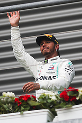 SPA-FRANCORCHAMPS, Sept. 2, 2019  Lewis Hamilton of Mercedes greets the fans during the awarding ceremony after the Formula 1 Belgian Grand Prix at Spa-Francorchamps Circuit, Belgium, Sept. 1, 2019. (Credit Image: © Zheng Huansong/Xinhua via ZUMA Wire)