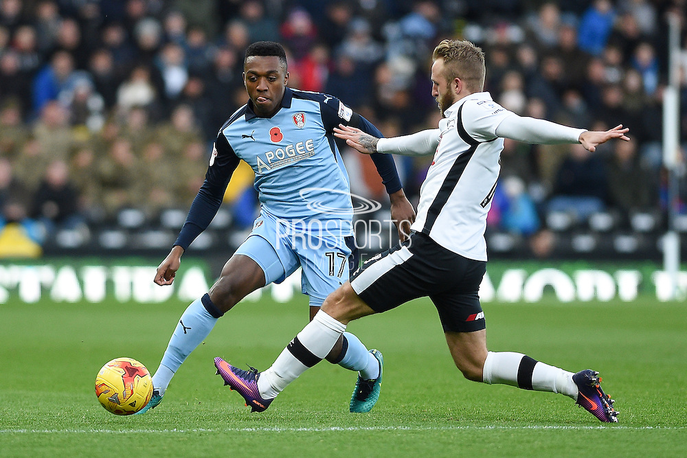 Rotherham United defender Darnell Fisher (17) battles for possession with Derby County forward Johnny Russell (7) during the EFL Sky Bet Championship match between Derby County and Rotherham United at the iPro Stadium, Derby, England on 19 November 2016. Photo by Jon Hobley.
