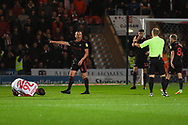Lee Cattermole of Sunderland (6) appeals to the referee he's got the ball after giving away a free kick during the EFL Sky Bet League 1 match between Doncaster Rovers and Sunderland at the Keepmoat Stadium, Doncaster, England on 23 October 2018.