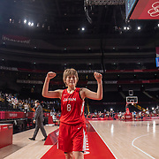 TOKYO, JAPAN August 8:  Maki Takada #8 of Japan reacts as she leaves the court after the teams loss during the Japan V USA basketball final for women at the Saitama Super Arena during the Tokyo 2020 Summer Olympic Games on August 8, 2021 in Tokyo, Japan. (Photo by Tim Clayton/Corbis via Getty Images)