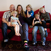 Södra Station co-housing in Stockholm,  Sweden, August 27, 2012. Castor family with friends. From the left Martin & Joanna Castor, Sofia Rickberg, Noam Hagberg Malmqvist, Max Rosling, Jonathan Castor.<br /> Sodra Station has 63 flats and in 2012 celebrated its 25th Anniversary.