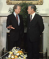 President Jimmy Carter and Chancellor Hulmut Schmidt talk in the Oval Office on July 13, 1977..Photograph by Dennis Brack bb 21