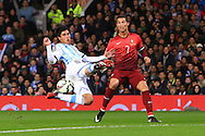 Cristiano Ronaldo of Portugal sees a cross cut out buy Facundo Roncaglia of Argentina - Argentina vs. Portugal - International Friendly - Old Trafford - Manchester - 18/11/2014 Pic Philip Oldham/Sportimage