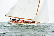 A foggy day of competition at the 2013 Museum of Yachting Classic Yacht Regatta hosted annually out of Newport Harbor in historic Newport, Rhode Island.