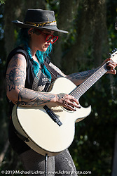 Lulu Vantuckett playing with her Lulu and the Black Sheep at the Boogie East Chopper Show at Annie Oakley's Saloon in Ormond Beach during Daytona Beach Bike Week, FL. USA. Friday, March 15, 2019. Photography ©2019 Michael Lichter.