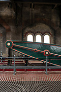 Well preserved Victorian cast ironwork at Crossness Pumping Station on the 22nd September 2019 in London in the United Kingdom. Built by Sir Joseph Bazalgette for Londons sewage system and opened in 1865, Crossness Pumping Station is a Grade 1 Listed building.