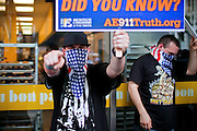 Activists demanding information and more transparency about 9/11 are campaigning on the street in Lower Manhattan, New York, USA, on the 10th anniversary of the 9/11 attacks on the Word Trade Centre.