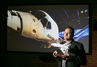 Daren Ulmer, CEO and founder of Moutsetrappe, did the introduction video for the Kennedy Space Center Visitor Complex Space Shuttle Atlantis.  The company designs and produces media content for museum exhibits. Shot in Burbank, CA. January 30, 2014. Photo by David Sprague