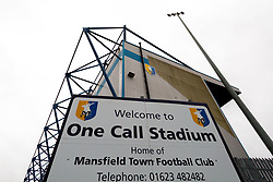 A general view of the One Call Stadium, home to Mansfield Town - Mandatory by-line: Ryan Crockett/JMP - 27/10/2018 - FOOTBALL - One Call Stadium - Mansfield, England - Mansfield Town v Milton Keynes Dons - Sky Bet League Two
