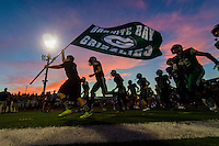 The Granite Bay Grizzlies take the field before the game as the Granite Bay Grizzlies host the Folsom Bulldogs, Friday September 25, 2015.<br /> Brian Baer/Special to the Bee