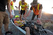 Alexey tijdens de vijfde racedag. In Battle Mountain (Nevada) wordt ieder jaar de World Human Powered Speed Challenge gehouden. Tijdens deze wedstrijd wordt geprobeerd zo hard mogelijk te fietsen op pure menskracht. Ze halen snelheden tot 133 km/h. De deelnemers bestaan zowel uit teams van universiteiten als uit hobbyisten. Met de gestroomlijnde fietsen willen ze laten zien wat mogelijk is met menskracht. De speciale ligfietsen kunnen gezien worden als de Formule 1 van het fietsen. De kennis die wordt opgedaan wordt ook gebruikt om duurzaam vervoer verder te ontwikkelen.<br /> <br /> Alexey on the fifth racing day. In Battle Mountain (Nevada) each year the World Human Powered Speed Challenge is held. During this race they try to ride on pure manpower as hard as possible. Speeds up to 133 km/h are reached. The participants consist of both teams from universities and from hobbyists. With the sleek bikes they want to show what is possible with human power. The special recumbent bicycles can be seen as the Formula 1 of the bicycle. The knowledge gained is also used to develop sustainable transport.
