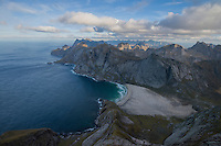 View over Bunes beach from Storskiva mountain peak, Moskenesøy, Lofoten Islands, Norway