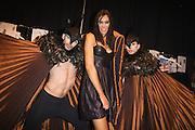 Lisa Maree Show, Australian Fashion Week, Sydney. .Models getting ready backstage for Lisa Maree show..Lisa Maree with models backstage.