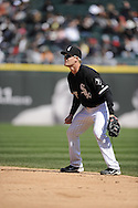 CHICAGO - APRIL 17:  Gordon Beckham #15 of the Chicago White Sox fields against the Los Angeles Angels of Anaheim on April 17, 2011 at U.S. Cellular Field in Chicago, Illinois.  The Angels defeated the White Sox 4-2.  (Photo by Ron Vesely)  Subject:  Gordon Beckham