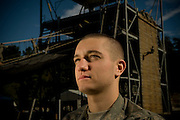 U.S. Army Private Kienan Moraski prepares to repel down a tower during basic military training at Fort Jackson, S.C., on October 23, 2008.