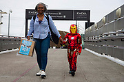 A young boy dressed as his favourite comic book charactor attends the first day of MCM Comic Con 2019 at Excel centre on 25th October 2019 in London, England, United Kingdom.