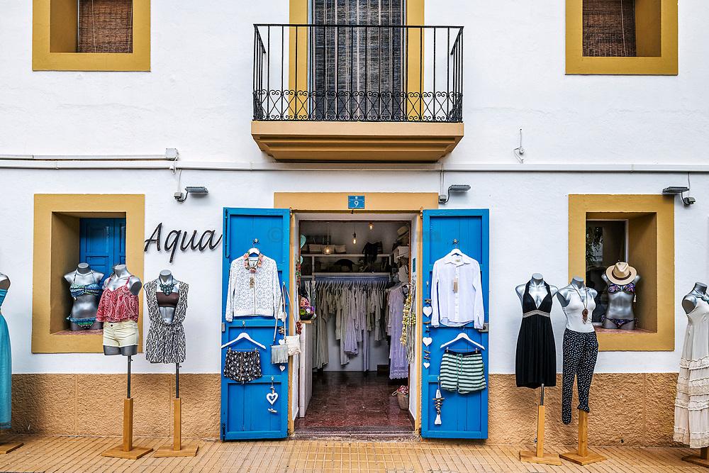 Women's clothing boutique, San Francisco Javier, Illers Balears, Formentera, Spain.
