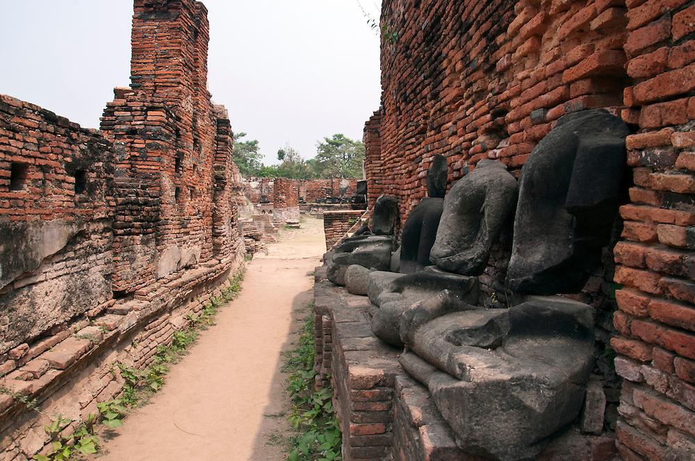 Weathered statues within Ayutthaya city, Thailand.